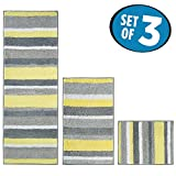mDesign Striped Microfiber Non-Slip Bathroom Mat/Rug for Bathroom, Vanity, Bathtub/Shower, Dorm Room - Set of 3, Gray/Yellow