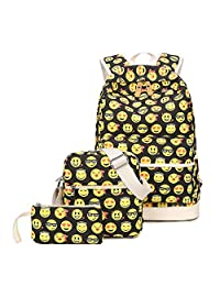 Tibes Cute Canvas Backpack Funny Emoji Backpack for Kids Girls/Boys Daypack