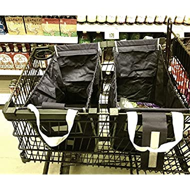 (2 PACK) Pack-n-tote Reusable Grocery Shopping Cart Grab Bag - Clips to your cart!