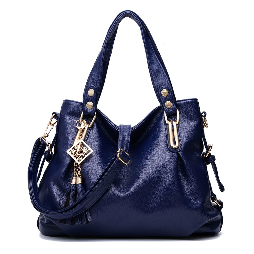 Leather Shoulder Bag for Women Causal Zipper Closure Top Handle Large Capacity Girls Tote Purse (Royal Blue)