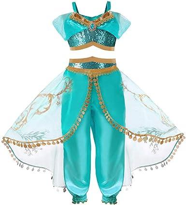 HOOPERT Niña Aladdin Princesa Jasmine Disfraz Tops Pantalones ...