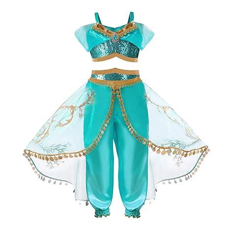 HOOPERT Niña Aladdin Princesa Jasmine Disfraz Tops Pantalones Manga Corta Traje Cosplay Actuación Carnaval Navidad Regalo Cumpleaños Danza Vientre ...