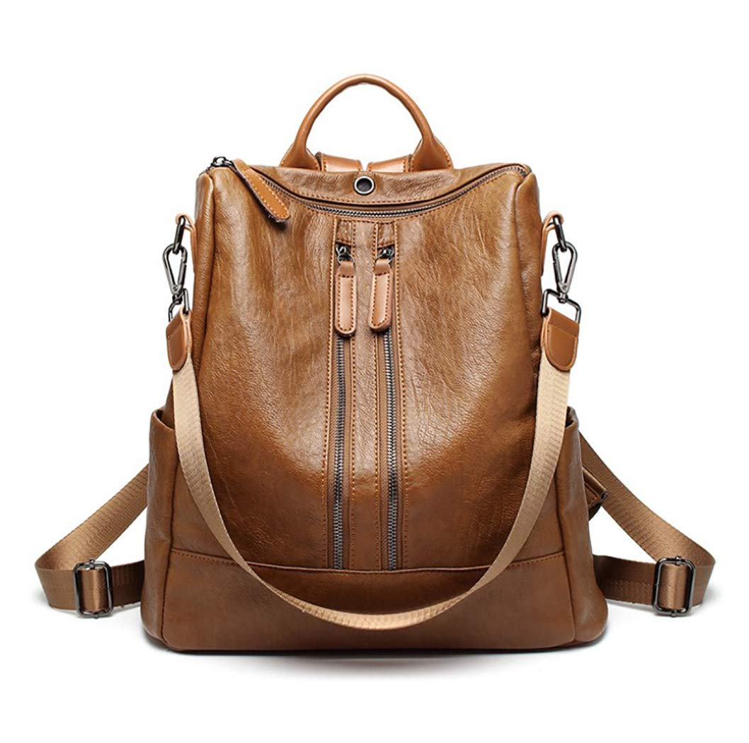 Doublezipperbrown Women Backpack Purse Soft PU Leather Fashion AntiTheft School Daypack Ladies Travel Shoulder Bag