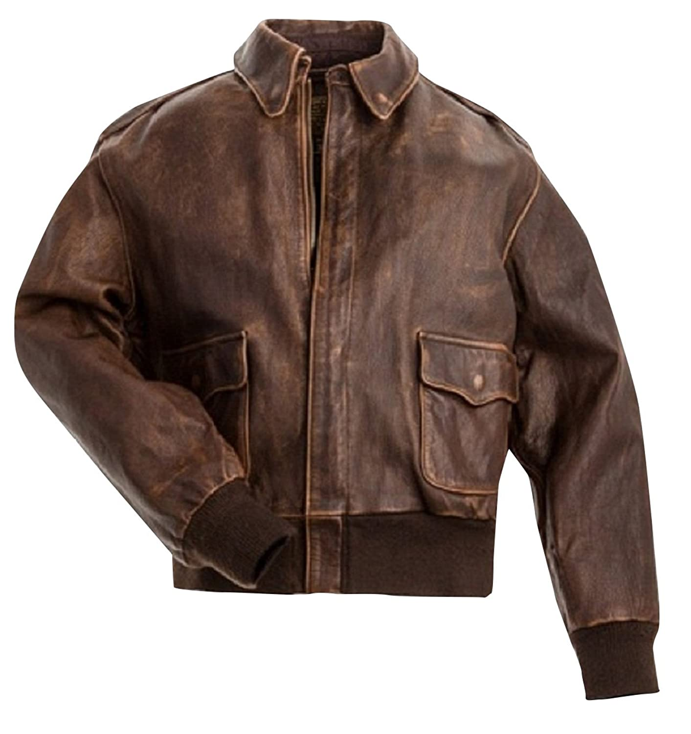 Men's Brown Vintage Distressed Leather Bomber Flight Jacket - DeluxeAdultCostumes.com