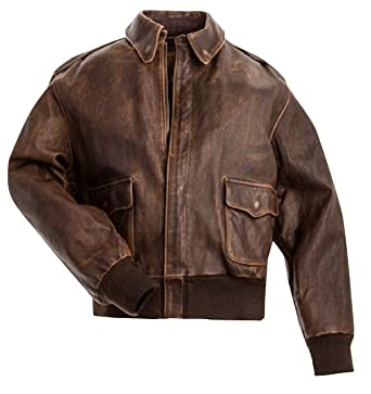 dc1f70bbeab6cd A2 Navy Flight Men Distressed Brown Genuine Leather Aviator Bomber Jacket