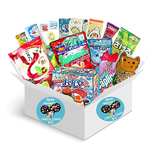 Premium Selection Candy and Snacks Imported from Japan Dagashi Snack Box (18 individually wrapped snacks) Assortment of Japanese Candy, Snacks, DIY Kracie Popin Cookin and More! | Gift Care Package | by WhimsyCandy