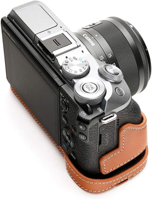 Genuine Real Leather Half Camera Case Bag Cover for Canon EOS M6 Mark ii M2 Rufous Color Bottom Open