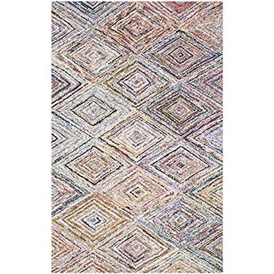 Safavieh Nantucket Collection NAN314A Handmade Abstract Geometric Diamond Multicolored Cotton Area Rug (5' x 8')