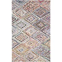 Safavieh Nantucket Collection NAN314A Handmade Abstract Geometric Diamond Multicolored Cotton Area Rug (8 x 10)