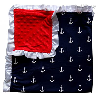Soft and Cozy Large Minky blanket - Navy Anchor with White Satin Trim