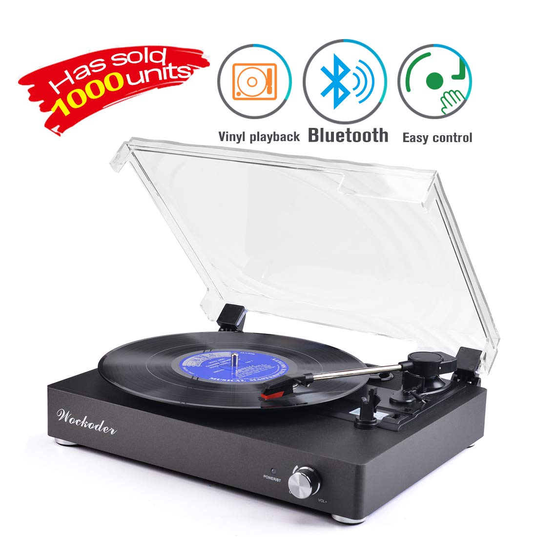 Record Player Portable Bluetooth LP Belt-Drive 3-Speed Turntable Vintage Style Vinyl Record Player (Fashion Style-Gray)