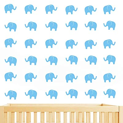 JUEKUI Set of 48 pcs Cute Elephant Decal Woodland Elephant Wall Decor Stickers for Kids Bedroom Nursery Wall Decor Removable Vinyl WS15 (Baby Blue): Kitchen & Dining