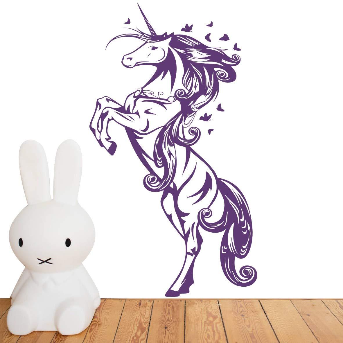 Beautiful Stand Unicorn Wall Decal,Art Removable Kids Nursery Bedroom Butterflies Unicorn Horse Wall Sticker,Baby Room Decoration Home Decor Wall Decor ES-43 (Violet, 55X97CM) YOYOYU