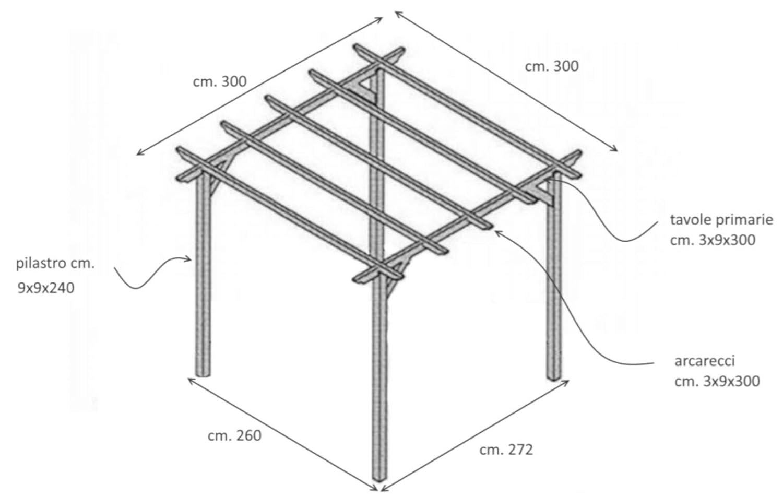 LOSA Pergola Gazebo 3x3 in Pino impregnato Copertura da Esterni tettoia