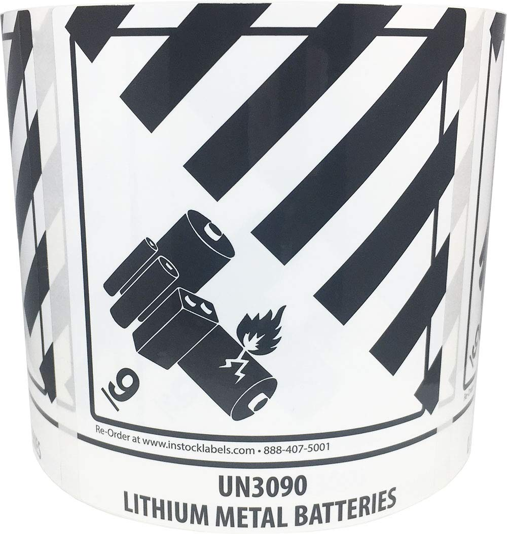 UN3090 Lithium Metal Batteries, Hazard 9 Pre-Printed Labels 500 Total Stickers on a Roll by InStockLabels.com