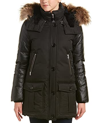 Mackage Womens Cynthia Leather-Trim Down Coat, S, Black at Amazon ...