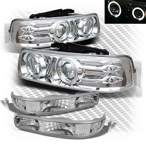 Xtune for 1999-2002 Chevy Silverado, 2000-2006 Tahoe/Suburban Halo LED Projector Headlights + Bumper Lights 2001 2004 2005 ()