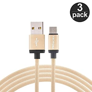 Type C, PROWORX [3-Pack] Durable Braided Type-C USB Cable Gold 6ft Long USB C to USB A with Reversible Connector For Google Pixel XL, LG V20, G5, ZTE Zmax Pro Grand X4 X3 & More