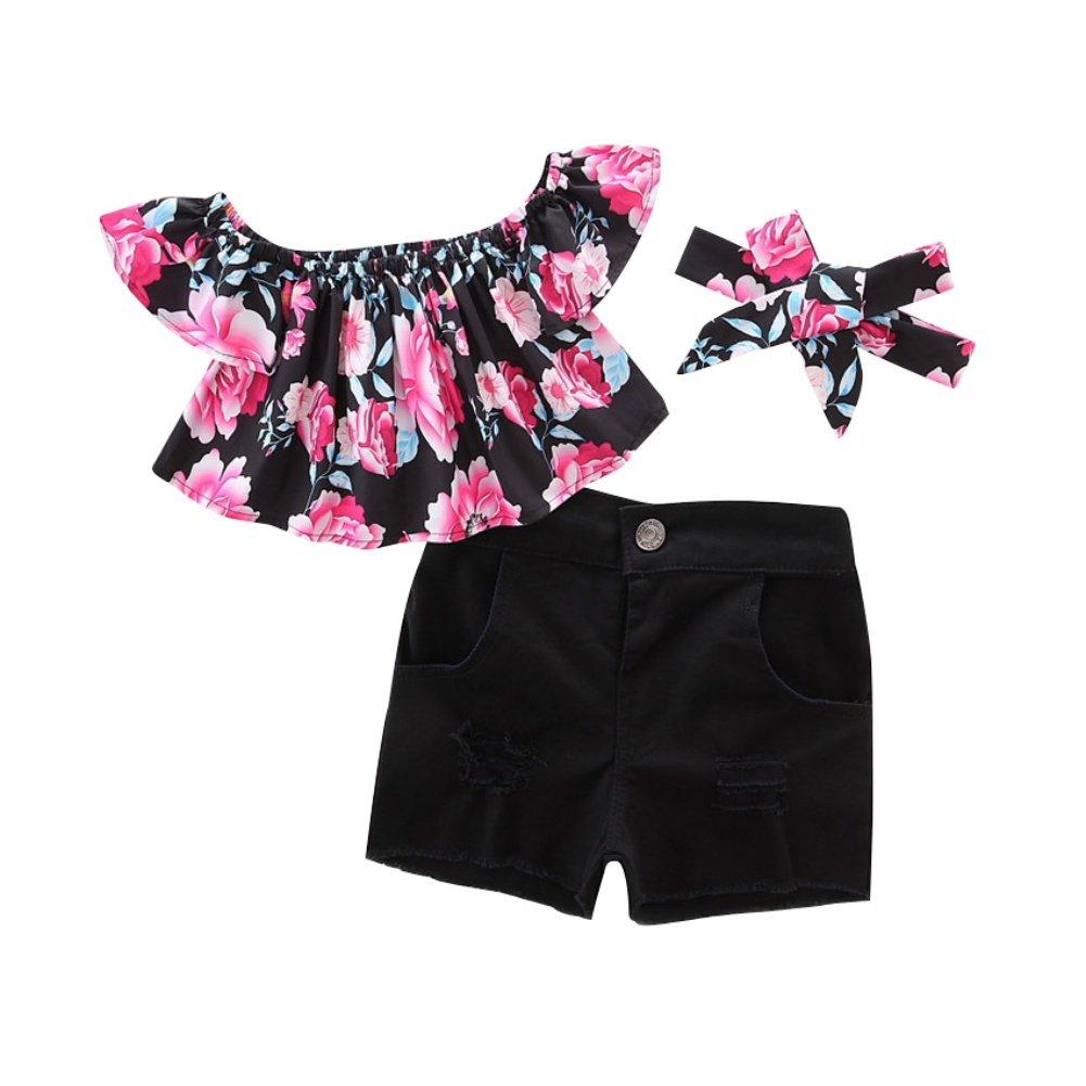 Brightup Bambini bambine off top camicetta + Jeans Pantaloncini denim + Fascia abbigliamento set abiti estivi 1-7 anni