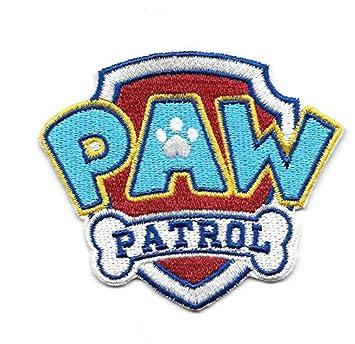 blau Patches Aufbügeln Paw Patrol Logo Aufnäher // Bügelbild 4,7x6,4cm