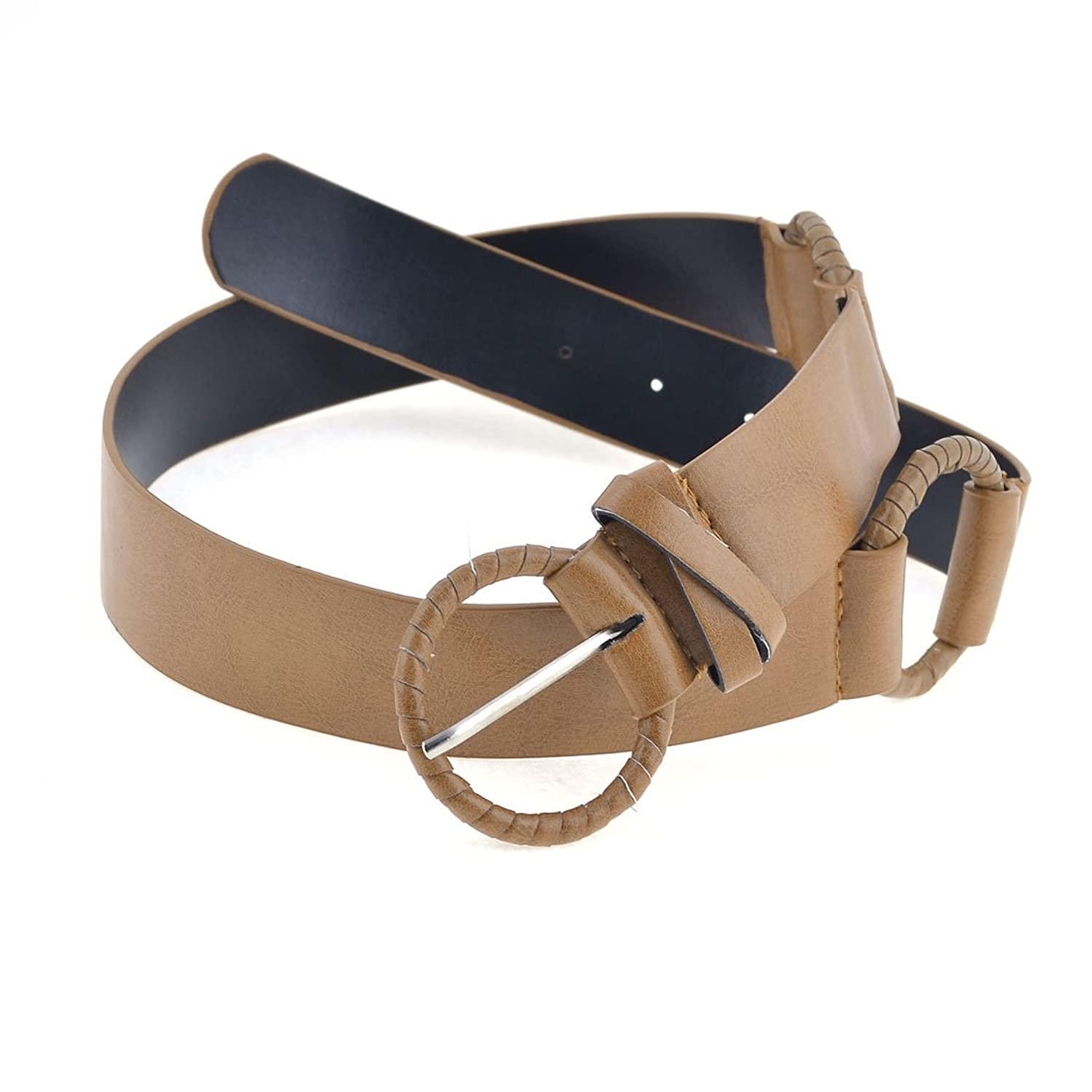 Faux Leather Wrapped Ring Single Pin Buckle Belt for Ladies