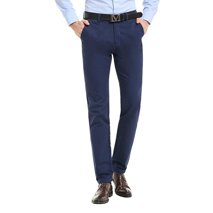 523fe2a1 Finrosy Men's Casual Pants Slim-Tapered Dress Pants Straight-Fit Flat-Front  Pants