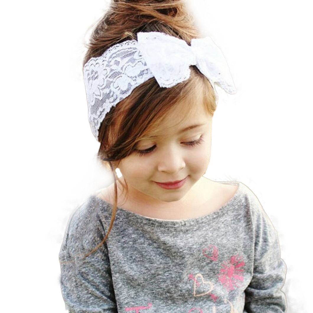 DZT1968(TM) Cute Infant Lace Big Bow Hair Band Baby Head Wrap Band Headband (White)