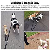 FOCUSPET Dual Dog Leash, 4.6 ft Double Dog Leash No Tangle w/Soft Handle, Heavy Duty Pet Lead Leashes Twin Leash for Large Medium Small Dogs