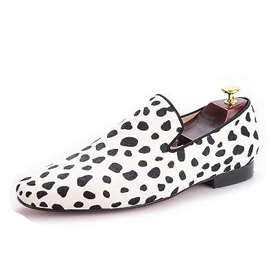 Men Shoes Zebra Pattern Horse Hair Slip-On Dress Loafer Smoking Slipper Male's Flats