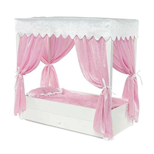 amazoncom for american girl doll canopy bed trundle storage 18 inch dolls furniture toys games - Beds For American Girl Dolls
