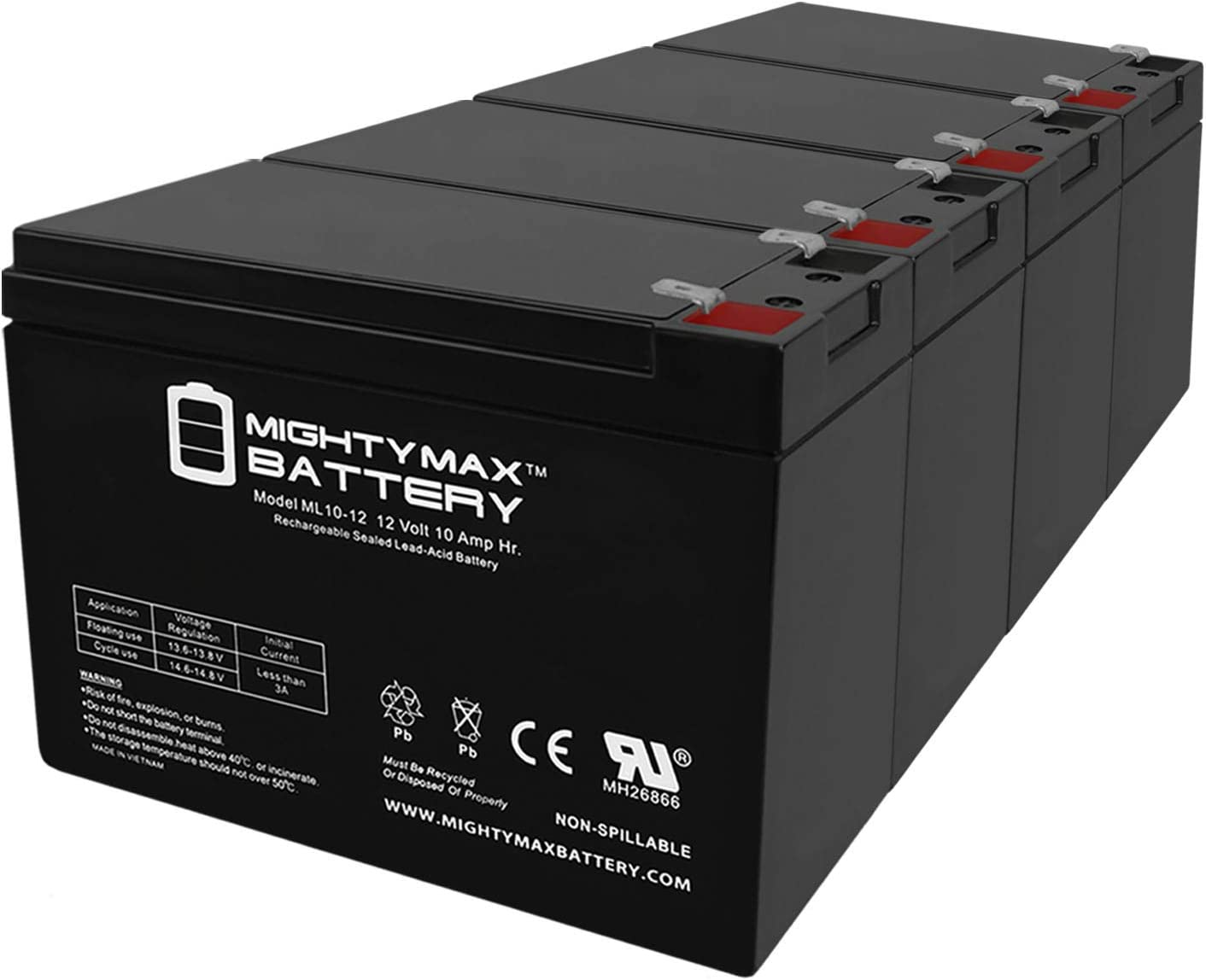 Mighty Max Battery ML10-12 - 12V 10AH 26058 CB10-12 CE5 CE6 MA 2.0 Lawn Mower Battery - 4 Pack Brand Product