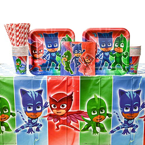 (PJ Masks Birthday Party Supplies Pack for 16 Guests | Straws, 16 Dinner Plates, 16 Luncheon Napkins, 16 Cups, and Table Cover | Perfect Party Bundle for Your Little Superhero's)