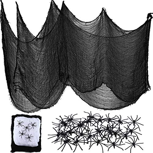 Boao 3 Pieces 30 by 84 Inches Black Gauze Creepy Cloth and 60 g Stretch Spider Web with 30 Pieces Creepy Spiders for Halloween Themed Party -