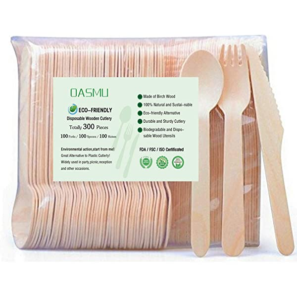 Just Eat 100/% Compostable Cutlery for Parties Takeaways Catering and Party 100 fork 160mm long EcoDine BBQ Disposable Wooden Cutlery fork,100 Piece Eco Disposable wooden fork Events