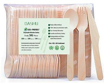 Cubertería desechable de madera, 300 piezas, cubiertos desechables ecológicos 100% compostable para fiestas