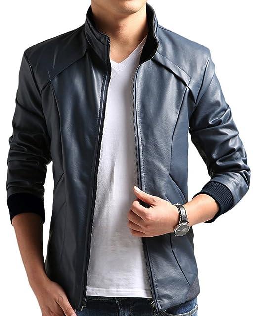 ZSHOW-Chaqueta Corta Casual Slim de Moto de Cuero PU para Hombre(Azul Oscuro