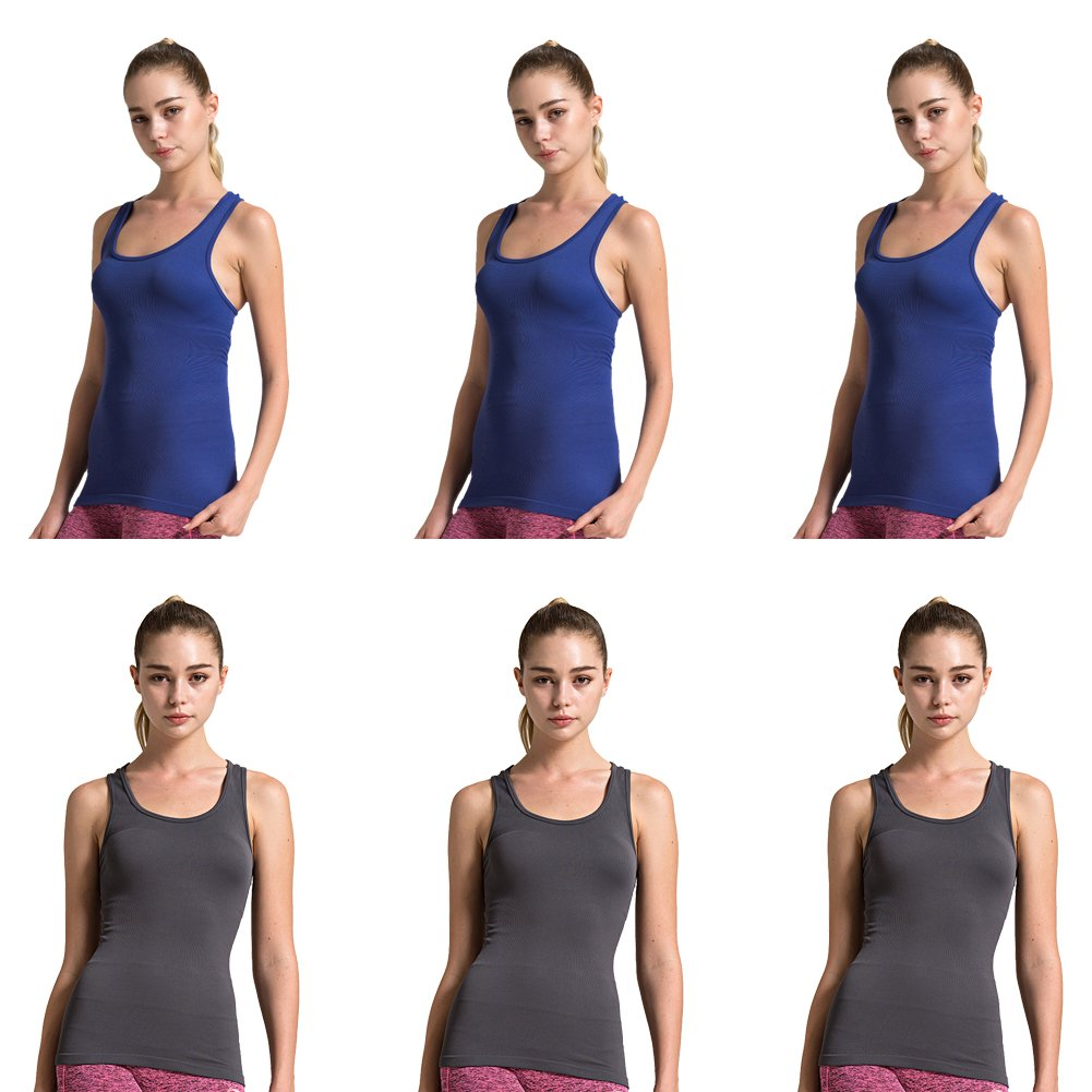 6pack Grey Dark bluee Semath Tank Top for Women, Running Workout Clothes Athletic Yoga Racerback 16 Pack
