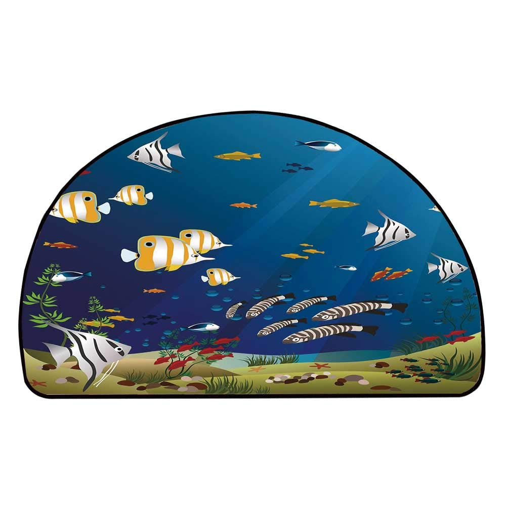 C COABALLA Aquarium Comfortable Semicircle Mat,Many Different Fishes at The Bottom of The Ocean Deep Water Sealife Cartoon Nature for Living Room,11.8'' H x 23.6'' L
