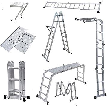 oshion 12,5 ft paso plataforma andamio plegable multiusos de aluminio escalera W/bandeja para herramientas: Amazon.es: Bricolaje y herramientas