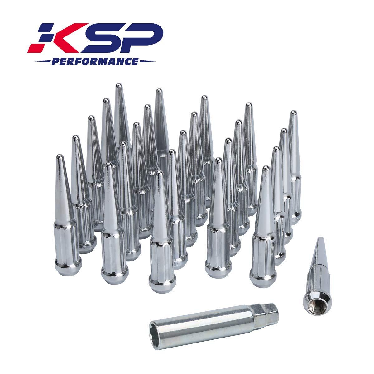 KSP 24 Pc 6 Spline Spike Lug Nuts M14x1.5 Thread 4.4'' Tall Closed End Bulge Acorn Spike Lug Nut and 1 Long Socket Key for Aftermarket Wheels Chrome