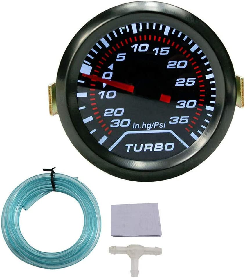 Nrpfell Voiture Universelle 2 Pouces 52 Mm LED Psi Turbo Boost Gauge Pressure Vacuum Smoked Face Fast