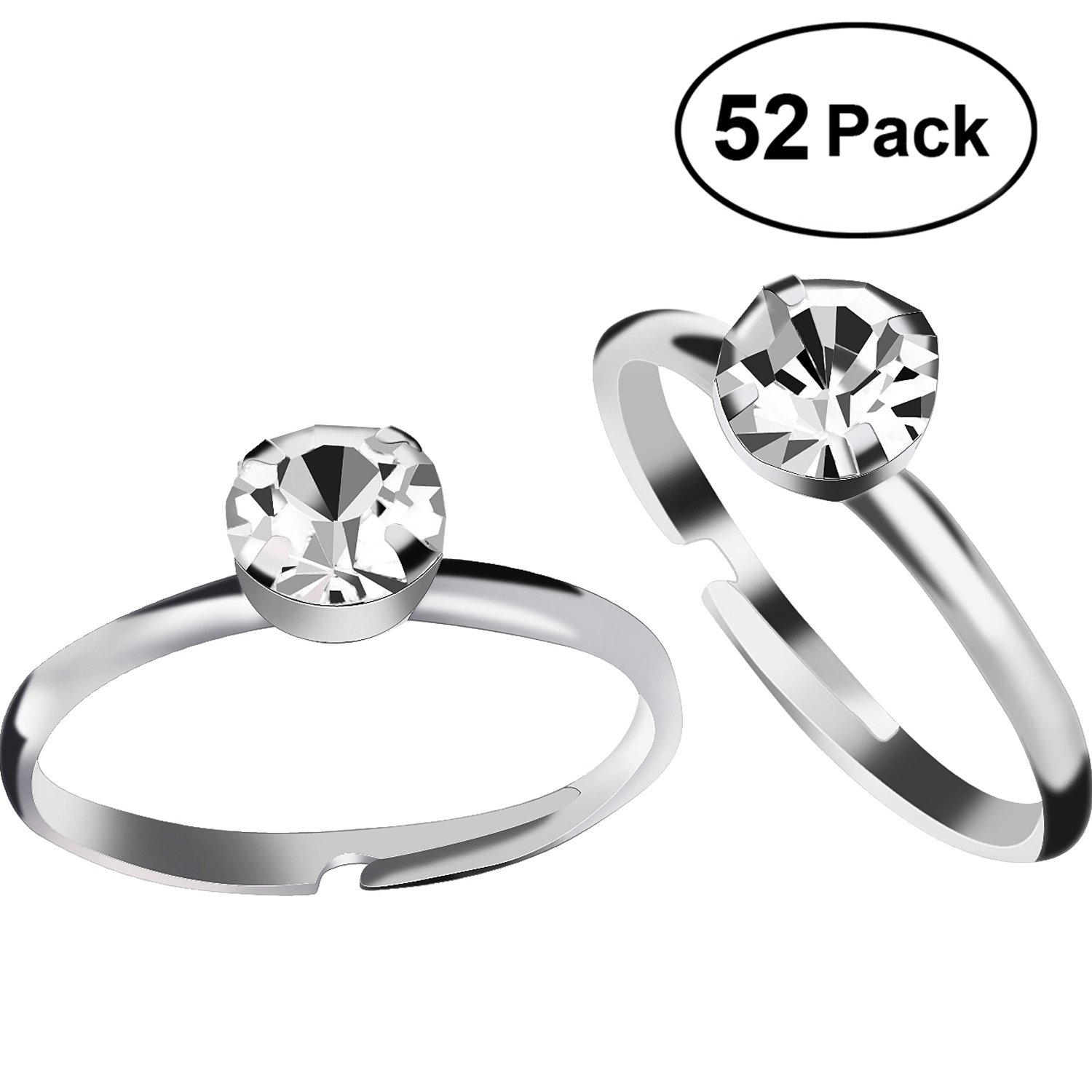 Amazon.com: Aboat 52 Pack Bridal Shower Rings Silver Diamond Rings ...