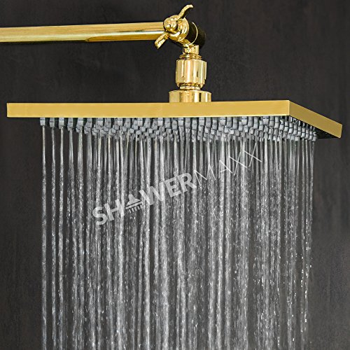 ShowerMaxx | Premium 8 inch Square High Pressure Luxury Spa Rainfall Shower Head- Removable Restrictor for Waterfall Rainshower - Self Cleaning High Flow Nozzles -Polished Brass Finish Rain (Gold Showerhead System)