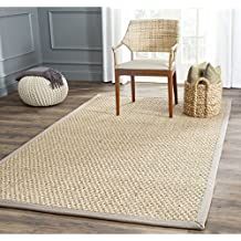 Safavieh Natural Fiber Collection NF114P Basketweave Natural and  Grey Seagrass Area Rug (4' x 6')