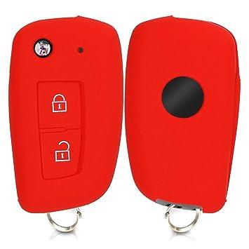 kwmobile Funda de Silicona para Llave Plegable de 2 Botones para Coche Nissan Skoda Seat - Carcasa Protectora Suave de Silicona - Case Mando de Auto ...