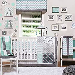 Uptown Giraffe 5 Piece Baby Bedding Set with Bumper and Diaper Stacker by The Peanut Shell