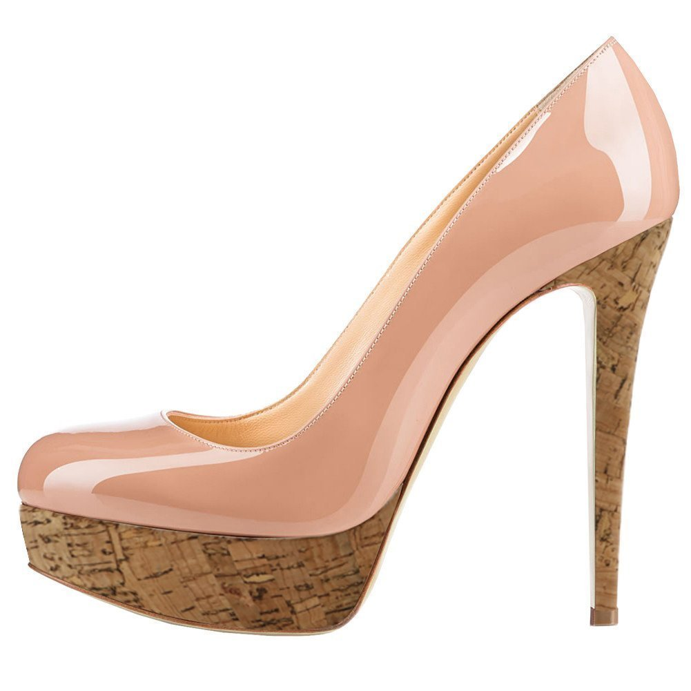 Wood Nude UMEXI Round Toe Platform Pumps Stiletto High Heel Slip On Party Wedding Dress shoes for Women