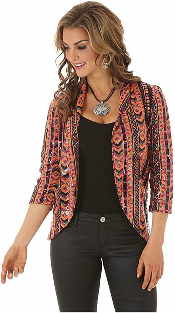Wrangler Rock 47 Womens Allover Sequin Printed Blazer Orange and Black