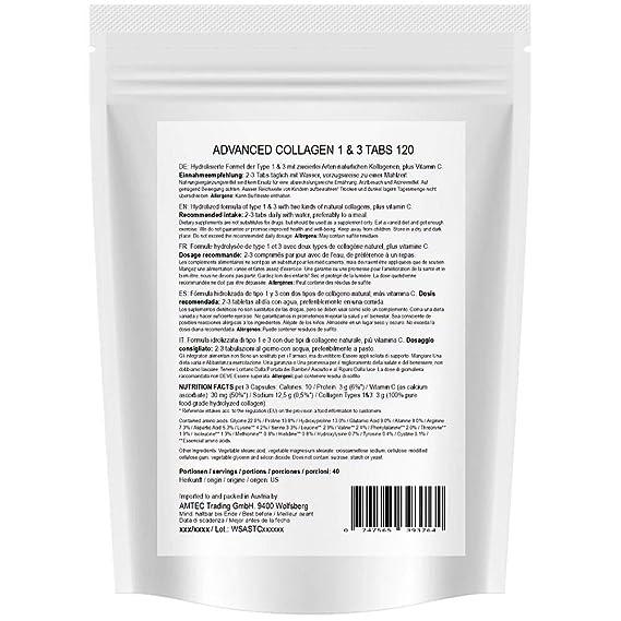 Colágeno avanzado 1000 mg + Aminoácidos + Vitamina C Comprimidos de colágeno (120 unidades durante 60 días) 1x120: Amazon.es: Salud y cuidado personal