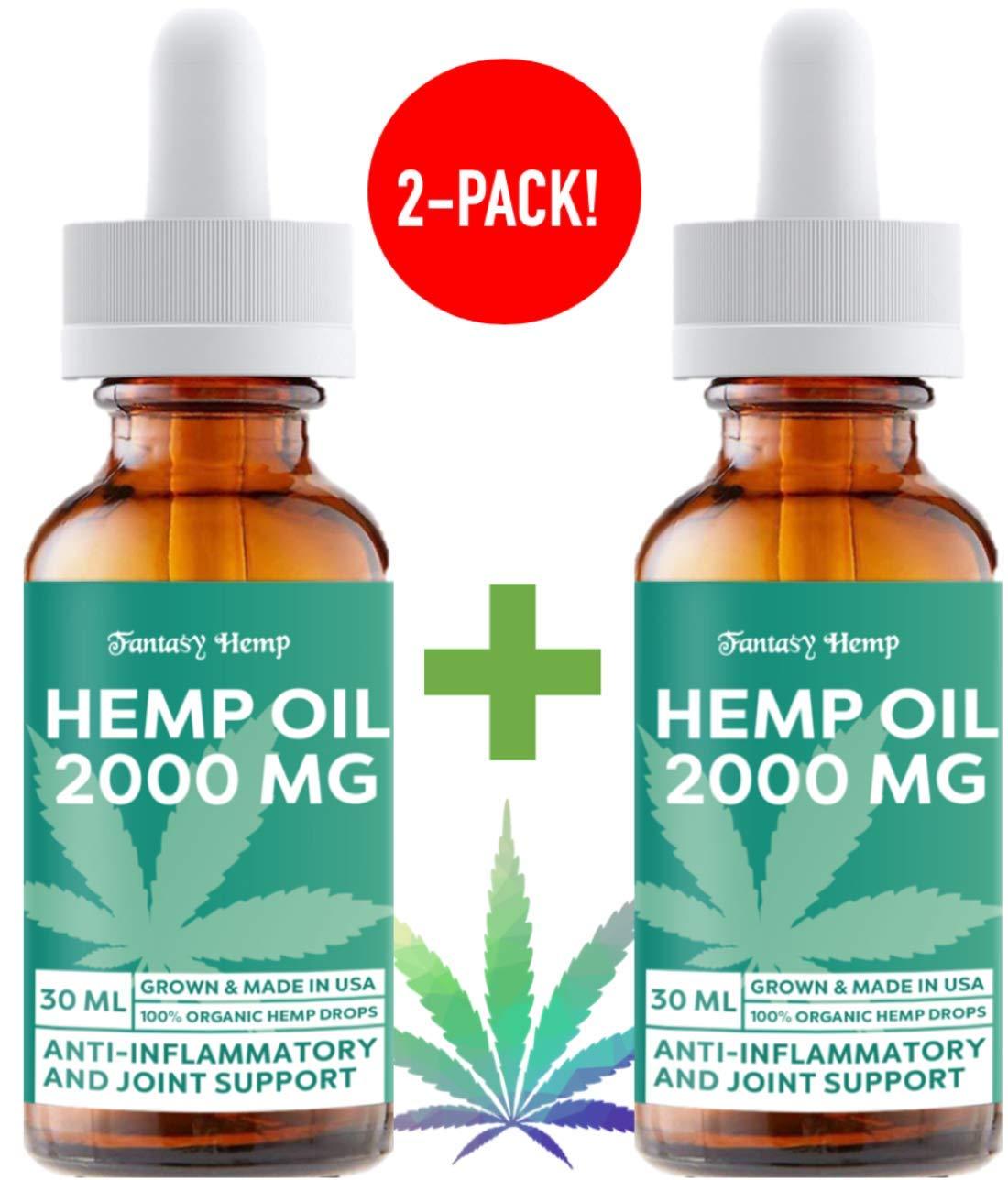 (2 Pack) Hemp Oil 2000mg : Hemp Oil for Pain Stress Relief, Mood Support, Healthy Sleep Patterns, Skin Care (2000mg, 67mg per Serving x 30 Servings) : Fantasy Hemp by Fantasy Hemp